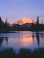 Mount Rainier at sunrise near Tipsoo Lake (small tarn above Lake), Mount Rainier National Park, Washington.