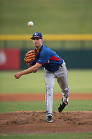 AZL Rangers starting pitcher Joe Palumbo (21) follows through on his delivery in a rehab start during an Arizona League game against the AZL Cubs 2 at Sloan Park on July 7, 2018 in Mesa, Arizona. AZL Rangers defeated AZL Cubs 2 11-2. (Zachary Lucy/Four Seam Images)