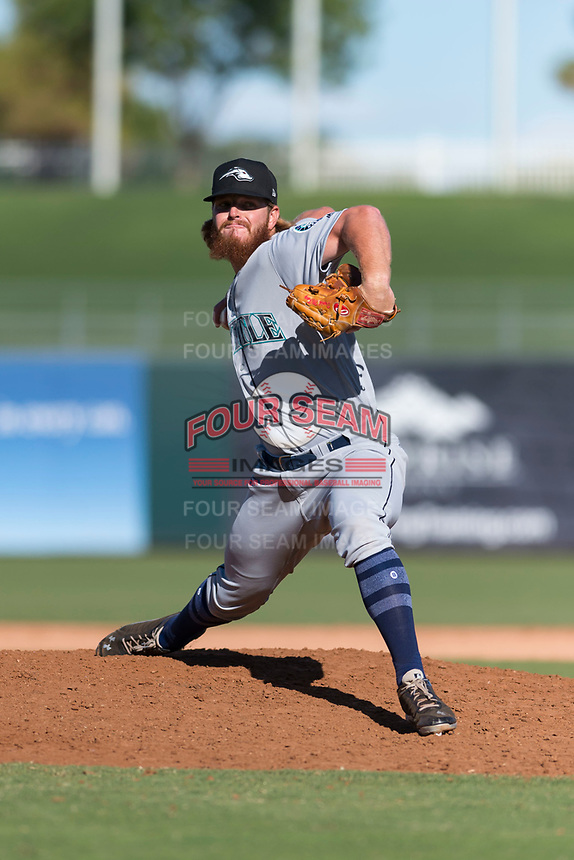 Peoria Javelinas relief pitcher David McKay (38), of the Seattle Mariners organization, delivers a pitch during an Arizona Fall League game against the Surprise Saguaros at Surprise Stadium on October 17, 2018 in Surprise, Arizona. (Zachary Lucy/Four Seam Images)
