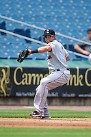 Pawtucket Red Sox third baseman Garin Cecchini (7) throws to first during a game against the Syracuse Chiefs on July 6, 2015 at NBT Bank Stadium in Syracuse, New York.  Syracuse defeated Pawtucket 3-2.  (Mike Janes/Four Seam Images)
