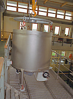 Inside the Oremus winery in Tolcsva, Tokaj - very modern wine making equipment. A tank used for the aszu (rotten - noble rot) grapes. At harvest they are put here and the Eszencia collects at the bottom due to the grapes own weight. Oremus is owned by the Alvarez family that also owns Vega Sicilia in Spain It is managed by Andras Bacso. Credit Per Karlsson BKWine.com