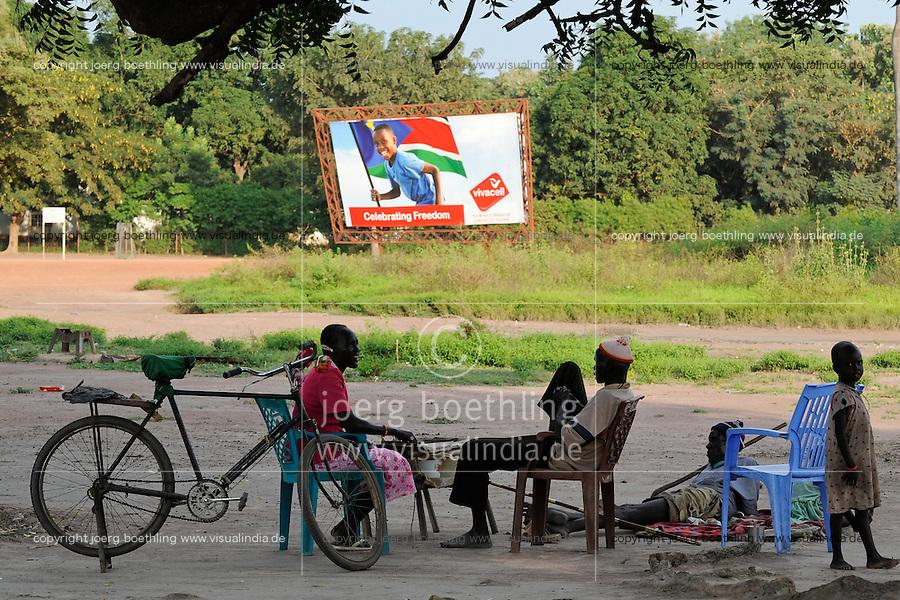 SOUTH SUDAN  Bahr al Ghazal region , Lakes State, town Rumbek , Celebrating freedom poster of mobile phone provider Vivacell