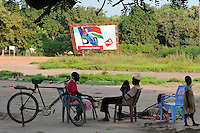 SOUTH SUDAN  Bahr al Ghazal region , Lakes State, town Rumbek , Celebrating freedom poster of mobile phone provider Vivacell