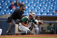 Umpire Richard Genera and Fort Wayne TinCaps catcher Jose Ruiz (21) during a game against the Lake County Captains on May 20, 2015 at Classic Park in Eastlake, Ohio.  Lake County defeated Fort Wayne 4-3.  (Mike Janes/Four Seam Images)