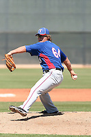 Matt West #64 of the Texas Rangers pitches in an extended spring training game against the San Diego Padres at the Rangers minor league complex on April 16, 2011  in Surprise, Arizona. .Photo by:  Bill Mitchell/Four Seam Images.