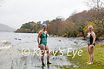 "Sisters Rosemary Browne & Tina Johnson brave the wild and windy weather on Saturday to swim in the ""Caragh Lake Swimming Pool"""
