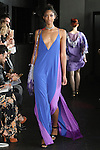 Kalah walks runway in a combo maxi slip dress from the Carlton Jones Resort 2017 collection fashion show at Le Bain in The Standard Hotel in New York City, on June 8, 2017.