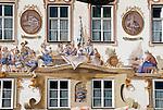 Germany, Upper Bavaria, Oberammergau: facade paintings at Georg Lang House | Deutschland, Bayern, Oberbayern, Oberammergau: Lueftlmalerei am Georg Lang Haus in der Dorfstrasse