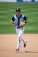 Syracuse Chiefs shortstop Trea Turner (4) jogs to the dugout during a game against the Pawtucket Red Sox on July 6, 2015 at NBT Bank Stadium in Syracuse, New York.  Syracuse defeated Pawtucket 3-2.  (Mike Janes/Four Seam Images)