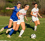 LITCHFIELD, CT-110620S11 —Litchfield's Camilla Seymour (3) and Northwestern's Ally Danilla (3) get tangled up while both going for the ball during their Berkshire League game Friday at Litchfield High School. <br /> Jim Shannon Republican-American