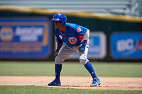 Tennessee Smokies Roberto Caro (25) leads off first base during a Southern League game against the Jacksonville Jumbo Shrimp on April 29, 2019 at Baseball Grounds of Jacksonville in Jacksonville, Florida.  Tennessee defeated Jacksonville 4-1.  (Mike Janes/Four Seam Images)