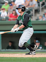Infielder Josh Mazzola (10) of the Augusta GreenJackets, Class A affiliate of the San Francisco Giants, in a game against the Greenville Drive on April 10, 2011, at Fluor Field at the West End in Greenville, S.C. Photo by Tom Priddy / Four Seam Images