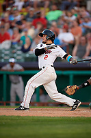 Tri-City ValleyCats catcher Oscar Campos (2) follows through on a swing during a game against the Vermont Lake Monsters on June 16, 2018 at Joseph L. Bruno Stadium in Troy, New York.  Vermont defeated Tri-City 6-2.  (Mike Janes/Four Seam Images)
