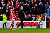 Derby County's manager Gary Rowett argues with Nottingham Forest's forward Lee Tomlin (15) during the Sky Bet Championship match between Nottingham Forest and Derby County at the City Ground, Nottingham, England on 10 March 2018. Photo by Stephen Buckley / PRiME Media Images.