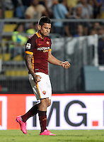 Calcio, Serie A: Frosinone vs Roma. Frosinone, stadio Comunale, 12 settembre 2015.<br /> Roma's Juan Iturbe celebrates after scoring during the Italian Serie A football match between Frosinone and Roma at Frosinone Comunale stadium, 12 September 2015. Roma won 2-0.<br /> UPDATE IMAGES PRESS/Isabella Bonotto