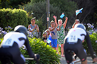 Fans cheer on the Upper Plain Road section of the Masterton circuit team time trials - Stage One of 2021 NZ Cycle Classic UCI Oceania Tour at Mitre 10 Mega in Masterton, New Zealand on Wednesday, 13 January 2021. Photo: Dave Lintott / lintottphoto.co.nz
