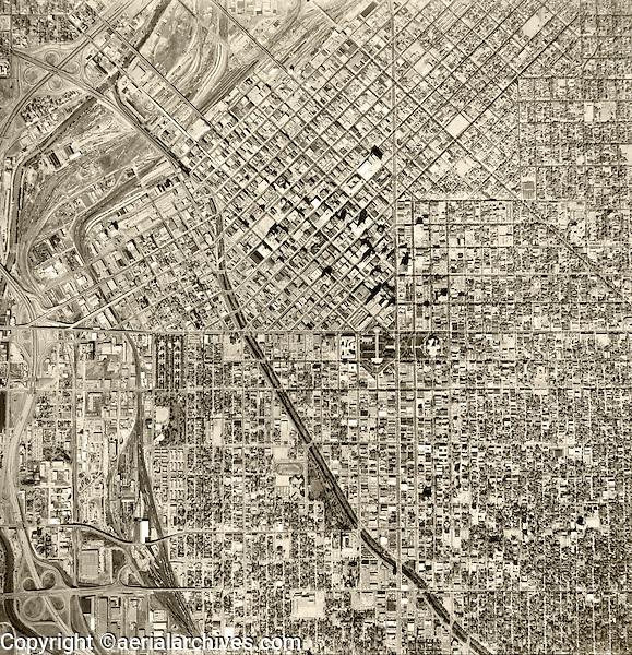 historical aerial photograph Denver, Colorado, 1964