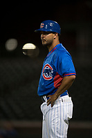 AZL Cubs 2 manager Jonathan Mota (15) during an Arizona League game against the AZL Rangers at Sloan Park on July 7, 2018 in Mesa, Arizona. AZL Rangers defeated AZL Cubs 2 11-2. (Zachary Lucy/Four Seam Images)