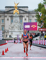 4th October 2020, London, England; 2020 London Marathon; Sara Hall (USA) overtakes Ruth Chepngetich (KEN) in the final stages to place second in the Elite Women's Race. The historic elite-only Virgin Money London Marathon taking place on a closed-loop circuit around St James's Park in central London on Sunday 4 October 2020.
