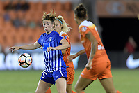 Houston, TX - Wednesday June 28, 2017: Morgan Andrews attempts to control a loose ball during a regular season National Women's Soccer League (NWSL) match between the Houston Dash and the Boston Breakers at BBVA Compass Stadium.