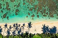 Aerial view of swimmers in the clear waters of Mokule'ia Beach near Crozier Drive, Waialua, O'ahu.