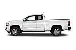 Car driver side profile view of a 2019 GMC Canyon 4WD SLE Extended Cab 5 Door Pick Up