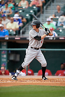 Indianapolis Indians second baseman Erich Weiss (6) bats during a game against the Buffalo Bisons on August 17, 2017 at Coca-Cola Field in Buffalo, New York.  Buffalo defeated Indianapolis 4-1.  (Mike Janes/Four Seam Images)