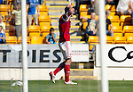 St Johnstone v Aberdeen....18.08.12   SPL.Scott Vernon holds his head after his goal was disallowed for offside.Picture by Graeme Hart..Copyright Perthshire Picture Agency.Tel: 01738 623350  Mobile: 07990 594431