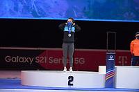 SPEEDSKATING: DORDRECHT: 07-03-2021, ISU World Short Track Speedskating Championships, Podium 1000m Ladies, Hanne Desmet (BEL), ©photo Martin de Jong