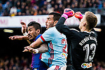 Paulinho Maciel of FC Barcelona (L) fights for the ball with Gustavo Daniel Cabral of RC Celta de Vigo (C) during the La Liga 2017-18 match between FC Barcelona and RC Celta de Vigo at Camp Nou Stadium on 02 December 2017 in Barcelona, Spain. Photo by Vicens Gimenez / Power Sport Images