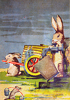 FX8H5B An Easter greeting postcard printed in Latvia shows rabbits cask filled with water on the wheels and delivers water to mice
