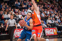 VALENCIA, SPAIN - NOVEMBER 22: Sam Van Brossom, Andrew Lawrence during Endesa League match between Valencia Basket Club and Retabet.es GBC at Fonteta Stadium on November 22, 2015 in Valencia, Spain