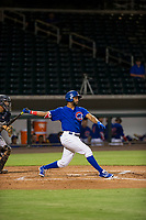 AZL Cubs right fielder Jonathan Sierra (22) follows through on his swing against the AZL Padres 2 on August 28, 2017 at Sloan Park in Mesa, Arizona. AZL Cubs defeated the AZL Padres 2 9-4. (Zachary Lucy/Four Seam Images)