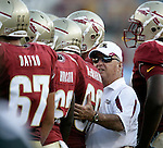 Florida State head coach Bobby Bowden (R) talks with his team on the sidelines of his 500th collegiate football game in the second half of the NCAA football game between the Florida State Seminoles and the University of Colorado Buffaloes in Jacksonville, Florida September 27, 2008.  Florida State defeated the University of Colorado 39-21.   (Mark Wallheiser/TallahasseeStock.com)