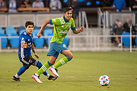 SAN JOSE, CA - MAY 12: Danny Leyva  #75 of the Seattle Sounders looks up to pass the ball during a game between San Jose Earthquakes and Seattle Sounders FC at PayPal Park on May 12, 2021 in San Jose, California.