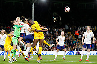 Mary Earps of England Women punches clear from Princess Ibini-isei of Australia Womenduring the Women's international friendly match between England Women and Australia at Craven Cottage, London, England on 9 October 2018. Photo by Carlton Myrie / PRiME Media Images.