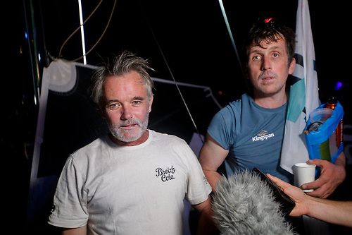 Ireland's Tom Dolan (right) and his French co-skipper Gildas Mahé at the finish to the Transat en Double in Saint Barthélemy