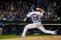 Chicago Cubs pitcher Kyle Hendricks (28) delivers a pitch in the first inning during Game 3 of the Major League Baseball World Series against the Cleveland Indians on October 28, 2016 at Wrigley Field in Chicago, Illinois.  (Mike Janes/Four Seam Images)