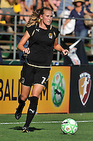 19 July 2009: Leigh Ann Robinson of the FC Gold Pride pushes the ball cross-field during the game at Buck Shaw Stadium in Santa Clara, California.  The Boston Breakers defeated the FC Gold Pride, 1-0.