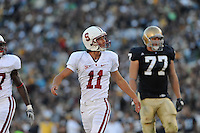 South Bend, IN - OCTOBER 4:  Kicker Aaron Zagory #11 of the Stanford Cardinal during Stanford's 28-21 loss against the Notre Dame Fighting Irish on October 4, 2008 at Notre Dame Stadium in South Bend, Indiana.