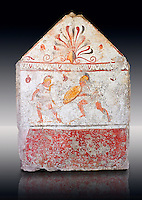 Lucanian fresco tomb painting of two men dualing . Paestrum, Andriuolo. 3rd Century BC