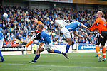 St Johnstone v Dundee United...27.08.11   SPL Week 5.Gavin Gunning scores to make it 3-3.Picture by Graeme Hart..Copyright Perthshire Picture Agency.Tel: 01738 623350  Mobile: 07990 594431