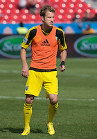 18 May 2013: Columbus Crew defender Tyson Wahl #2 warm-ups during an MLS game between the Columbus Crew and Toronto FC at BMO Field in Toronto, Ontario Canada..The Columbus Crew won 1-0...