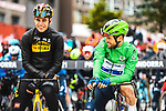 Wout Van Aert (BEL) Jumbo-Visma and Green Jersey Mark Cavendish (GBR) Deceuninck-Quick Step line up for the start of Stage 16 of the 2021 Tour de France, running 169km from Pas de la Case to Saint-Gaudens, France. 13th July 2021.  <br /> Picture: A.S.O./Charly Lopez   Cyclefile<br /> <br /> All photos usage must carry mandatory copyright credit (© Cyclefile   A.S.O./Charly Lopez)