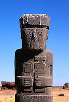 THE PONCE MONOLITH in the center of the KALASSASAYA TEMPLE courtyard - TIWANAKU RUINS , BOLIVIA