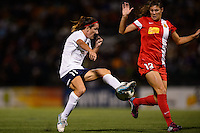 Sky Blue FC forward Lisa De Vanna (11) turns Western New York Flash defender Brittany Taylor (13). The Western New York Flash defeated Sky Blue FC 2-0 during a National Women's Soccer League (NWSL) semifinal match at Sahlen's Stadium in Rochester, NY, on August 24, 2013.