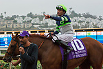 """DEL MAR, CA. AUGUST 26: Gary Stevens points to the connections after a convincing win in the Pat O'Brien Stakes (Grade ll), Breeders' Cup """"Win and You're in Dirt Mile Division"""" on August 26, 2017, at Del Mar Thoroughbred Club in Del Mar, CA.(Photo by Casey Phillips/Eclipse Sportswire/Getty )"""
