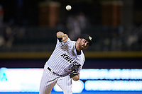 Charlotte Knights relief pitcher Zach Thompson (32) delivers a pitch to the plate against the Rochester Red Wings at BB&T BallPark on May 14, 2019 in Charlotte, North Carolina. The Knights defeated the Red Wings 13-7. (Brian Westerholt/Four Seam Images)