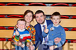 Brendan Griffin with his wife and kids  at the count in Killarney on Monday evening