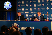 Scott Crockett Communications Director for the European Tour introduces Paul McGinley to announce his Captain's Picks during the Team Europe Ryder Cup Press Conference at the Wentworth Club, Virginia Waters, England. Picture:  David Lloyd / www.golffile.ie